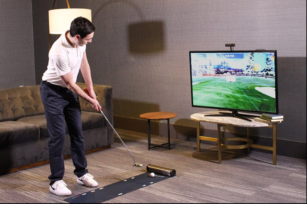 Golf Indoors and Clean Up Your Short Game with This Award-Winning Putting Simulator